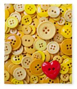 Red Heart And Yellow Buttons Fleece Blanket