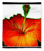 Red Hibiscus With Special Effects Fleece Blanket