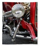 Red Hot Rod- Light And Chrome Fleece Blanket