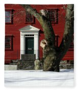 Red House And Snow Fleece Blanket