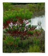 Red In Green Fleece Blanket