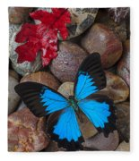Red Leaf And Blue Butterfly Fleece Blanket