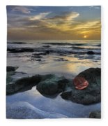 Red Leaf At Dawn Fleece Blanket