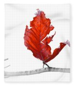 Red Leaf Of Autumn On White Fleece Blanket