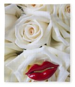 Red Lips And White Roses Fleece Blanket