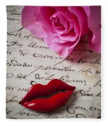 Red Lips On Letter Fleece Blanket