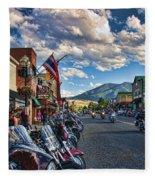 Red  Lodge Motorcycle Rally Fleece Blanket