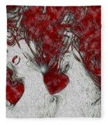 Red Love Fleece Blanket