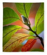 Red Magnolia Leaves With Bud Fleece Blanket