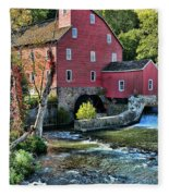 Red Mill On The Water Fleece Blanket