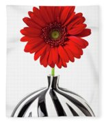 Red Mum In Striped Vase Fleece Blanket