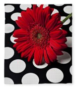 Red Mum With White Spots Fleece Blanket