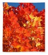 Red Orange Yellow Autumn Leaves Art Prints Vivid Bright Fleece Blanket