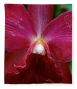 Red Orchid Fleece Blanket