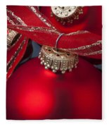 Red Ornaments Fleece Blanket