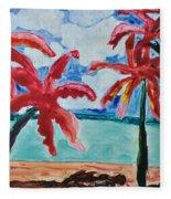 Red Palms Fleece Blanket
