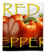 Red Peppers On White And Black Fleece Blanket