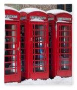 Red Phone Boxes Fleece Blanket