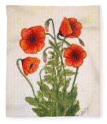 Red Poppies Watercolor Painting Fleece Blanket