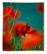 Red Poppy Flowers 05 Fleece Blanket