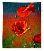 Red Poppy Flowers 08 Fleece Blanket