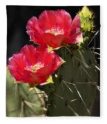 Red Prickly Pear Cactus  Fleece Blanket