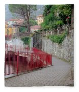 Red Rail Walkway To Varenna Along Lake Como Fleece Blanket