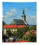 Red Roofed Wonders Fleece Blanket