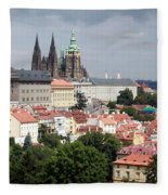 Red Rooftops Of Prague Fleece Blanket