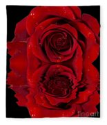 Red Rose Dew Fleece Blanket