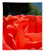 Red Rose Flower Bright Colorful Vivid Red Floral Rose Fleece Blanket