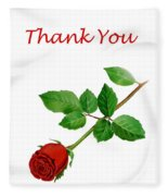 Red Rose Thank You Card Fleece Blanket