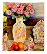 Red Roses Yellow Daffodils In Hand Painted Oriental Antique Vases With Fruit Plate Doves And Angels Fleece Blanket