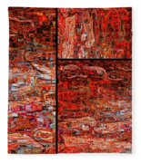 Red Splashes Swishes And Swirls - Abstract Art Fleece Blanket