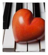 Red Stone Heart On Piano Keys Fleece Blanket