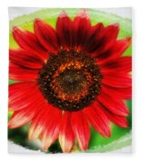 Red Sun Flower Fleece Blanket