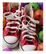 Red Tennis Shoes And Balls Fleece Blanket