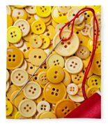 Red Thread And Yellow Buttons Fleece Blanket
