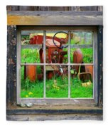 Red Tractor Thru Old Window Fleece Blanket