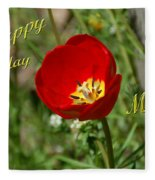 Red Tulip Birthday Fleece Blanket