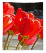 Red Tulip Flowers Art Prints Spring Florals Fleece Blanket
