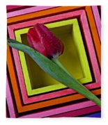Red Tulip In Box Fleece Blanket