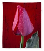 Red Tulip With Dew Fleece Blanket