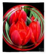 Red Tulips Under Glass Fleece Blanket