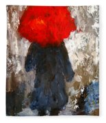 Red Umbrella Under The Rain Fleece Blanket