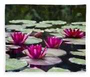 Red Water Lillies Fleece Blanket