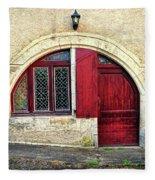 Red Windows And Door Provence France Fleece Blanket