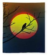 Red Winged Blackbird In The Sun Fleece Blanket