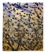 Red-winged Blackbirds At Sunset Fleece Blanket