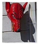 Red Wolf Mask Fleece Blanket
